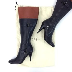 Cole Haan Italian Leather Zip Knee High Heel Boot